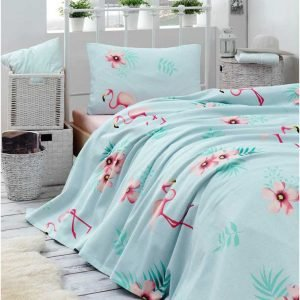 Покрывало пике Eponj Home — Flamenco mint вафельное 160×235