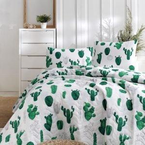 Покрывало стеганное с наволочками Eponj Home – Kaktus yesil зелёный