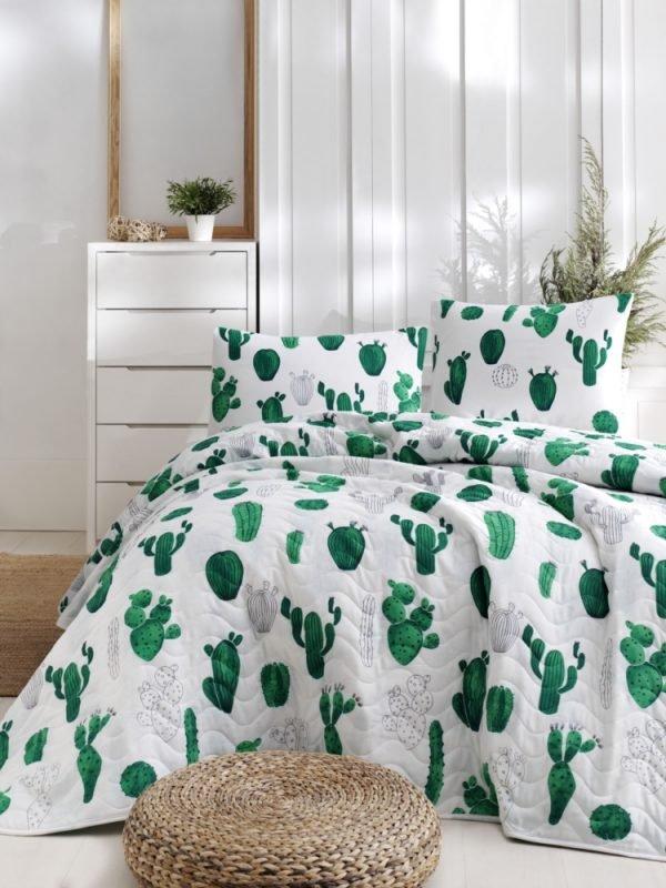 купить Покрывало стеганное с наволочками Eponj Home - Kaktus yesil зелёный