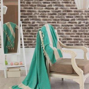 Покрывало хлопковое Eponj Home – Elmas Yesil зеленое 200×240