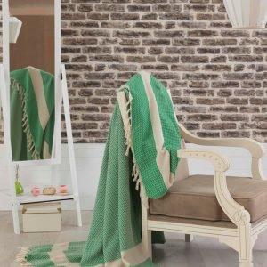 Покрывало хлопковое Eponj Home – Hasir A.Yesil светло зеленое 200×240