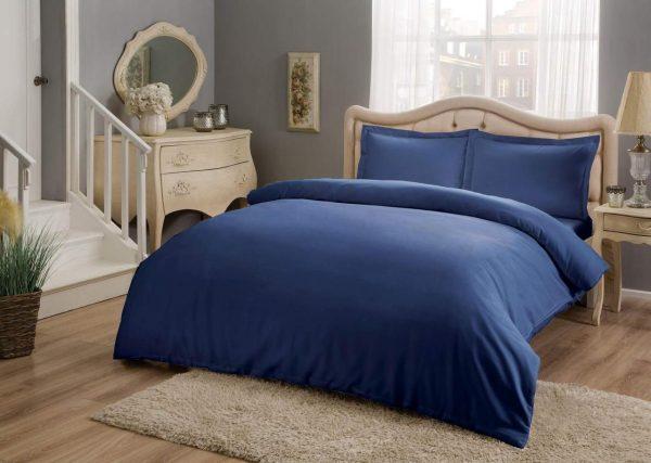 купить Постельное белье ТМ TAC Basic Blue Сатин Двуспальное Евро комплект