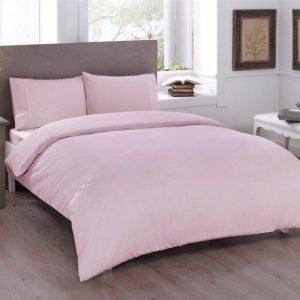 купить Постельное белье ТМ TAC Basic Pink Ранфорс Евро комплект|Двуспальное