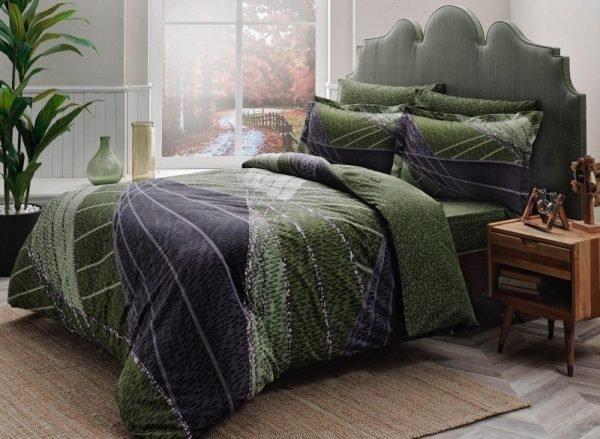 купить Постельное белье ТМ TAC Borneo green Сатин Delux Двуспальное|Евро комплект