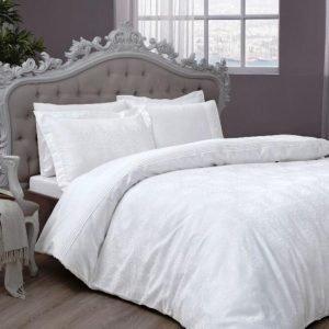 Постельное белье ТМ TAC Diana White Сатин Жаккард 200×220