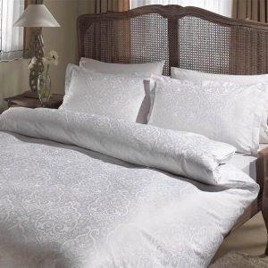 Постельное белье ТМ TAC Gardenia White Сатин Жаккард 200×220