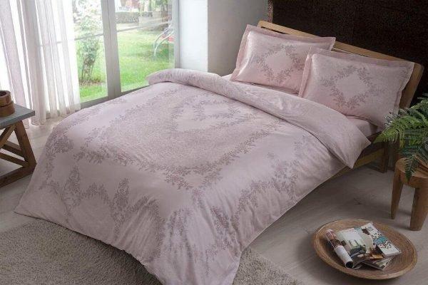 купить Постельное белье ТМ TAC Justine Pink Сатин Двуспальное|Евро комплект