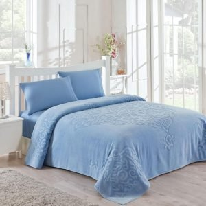 Постельное белье для лета с покрывалом ТМ TAC Dama Blue Сатин 220×240