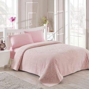 Постельное белье для лета с покрывалом ТМ TAC Dama Pink Сатин 220×240