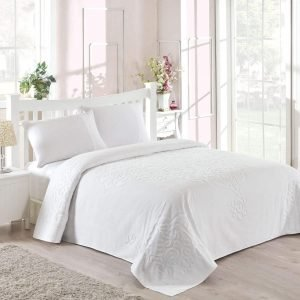 Постельное белье для лета с покрывалом ТМ TAC Dama White Сатин 220×240