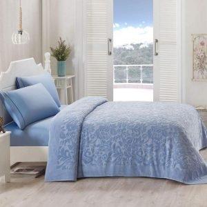 Постельное белье для лета с покрывалом ТМ TAC Lyon Blue Сатин 220×240