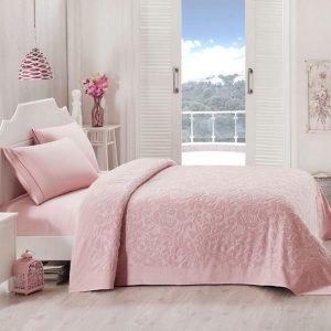 Постельное белье для лета с покрывалом ТМ TAC Lyon Pink Сатин 220×240