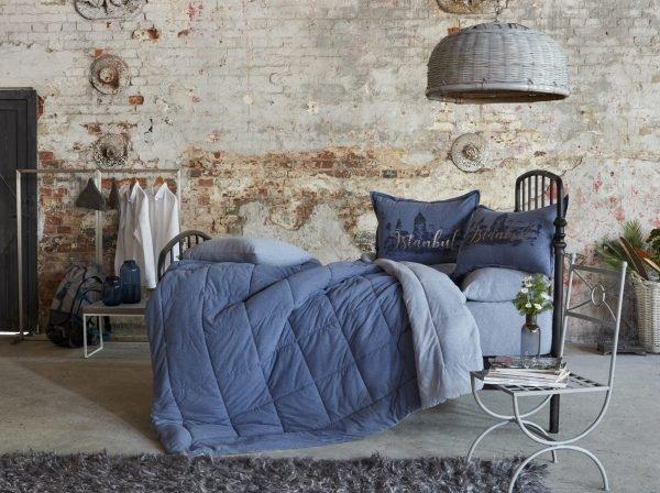 купить Постельное белье с одеялом Karaca Home - Istanbul indigo 2019-2 индиго Евро комплект|Двуспальное