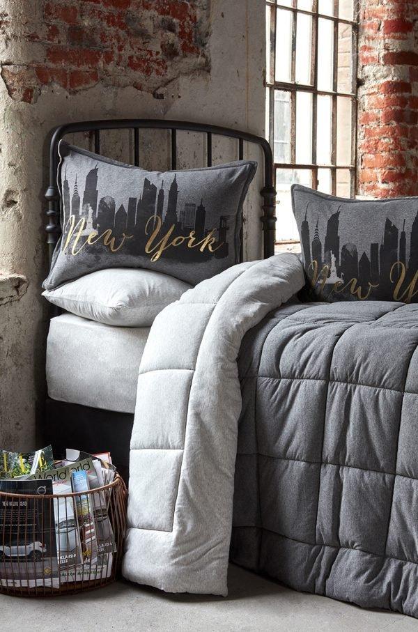 купить Постельное белье с одеялом Karaca Home - New York gri 2019-2 Серый фото