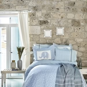 купить Постельное белье с покрывалом и Пике Karaca Home - Zilonis mavi 2019-2 Евро комплект|Двуспальное