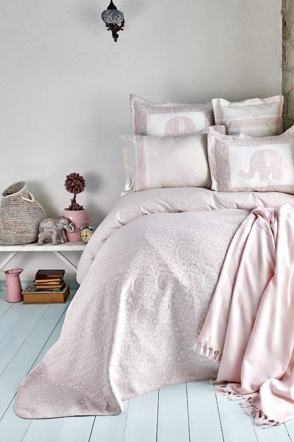купить Постельное белье с покрывалом и Пике Karaca Home - Zilonis pudra 2019-2 Евро комплект|Двуспальное