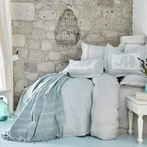 купить Постельное белье с покрывалом и Пике Karaca Home - Zilonis su yesil 2019-2 Евро комплект|Двуспальное