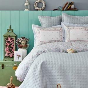 Постельное белье с покрывалом Karaca Home — Heras mavi 2019-2 200×220