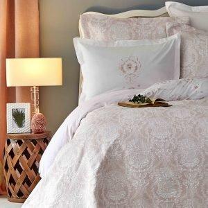 Постельное белье с покрывалом Karaca Home — Quatre delux pudra 2019-2 200×220