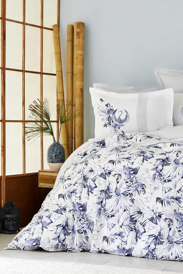 купить Постельное белье Karaca Home ранфорс - Teru mavi 2019-2 Евро комплект|Двуспальное