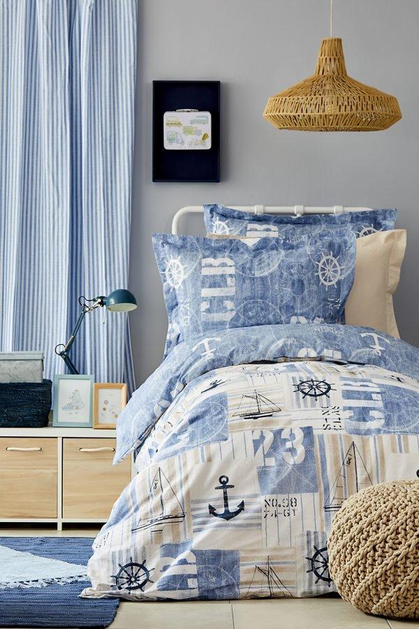 купить Постельное белье Karaca Home - Sandes indigo 2019-2 ранфорс Полуторное