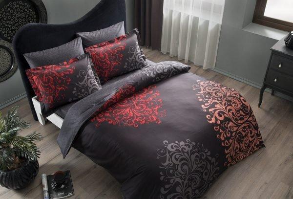 купить Постельное белье TAC сатин Delux - Rodion siyah v01 Евро комплект|Двуспальное