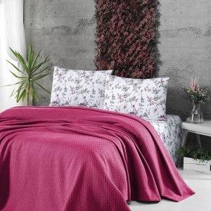 купить Летнее постельное белье Пике ТМ First Choice deluxe pike fusya Двуспальное|Евро комплект