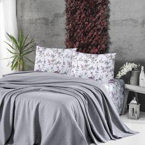 купить Летнее постельное белье Пике ТМ First Choice deluxe pike gri Двуспальное|Евро комплект