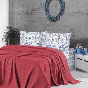 купить Летнее постельное белье Пике ТМ First Choice deluxe pike mercan Двуспальное|Евро комплект