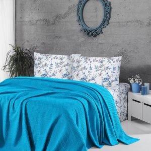 купить Летнее постельное белье Пике ТМ First Choice deluxe pike turquaz Двуспальное|Евро комплект