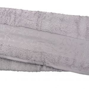 Махровое полотенце ТМ Hanibaba бамбук светло-серый