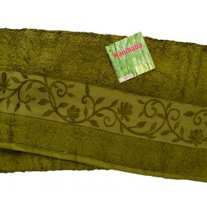 Махровое полотенце ТМ Hanibaba бамбук хаки