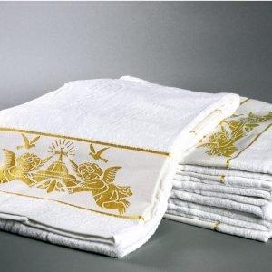 Полотенце для Крещения ТМ Hanibaba Крыжма ангелы золото 70×140