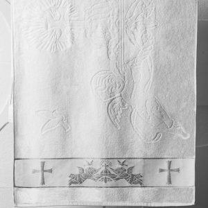 Полотенце для Крещения ТМ Hanibaba Крыжма ангелы серебро 70×140