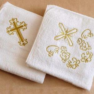 Полотенце для Крещения ТМ Hanibaba Крыжма крест золото 100×100