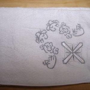 Полотенце для Крещения ТМ Hanibaba Крыжма крест серебро 100×100