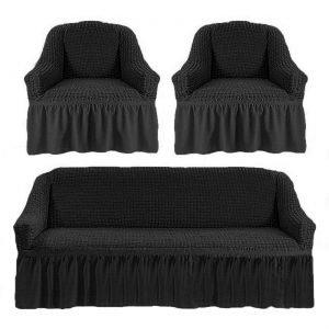 купить Комлект чехлов на диван и кресла Love you антрацит Черный|Серый фото