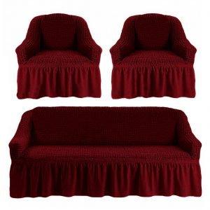 купить Комлект чехлов на диван и кресла Love you бордо Бордовый фото