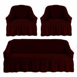 купить Комлект чехлов на диван и кресла Love you вишня Бордовый фото
