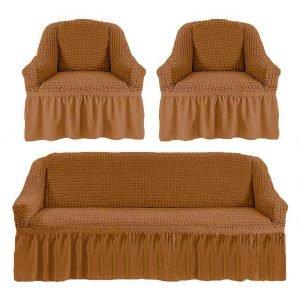 купить Комлект чехлов на диван и кресла Love you золото Коричневый фото