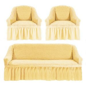 купить Комлект чехлов на диван и кресла Love you крем Кремовый фото
