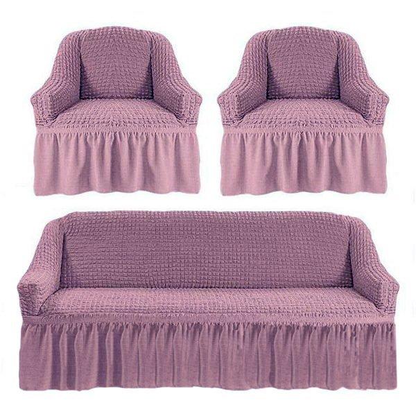 купить Комлект чехлов на диван и кресла Love you лиловый Лиловый фото