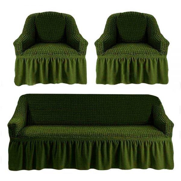 купить Комлект чехлов на диван и кресла Love you олива Зеленый фото