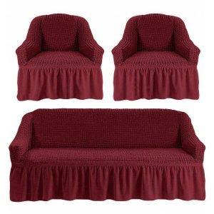 Комлект чехлов на диван и кресла Love you пурпурный