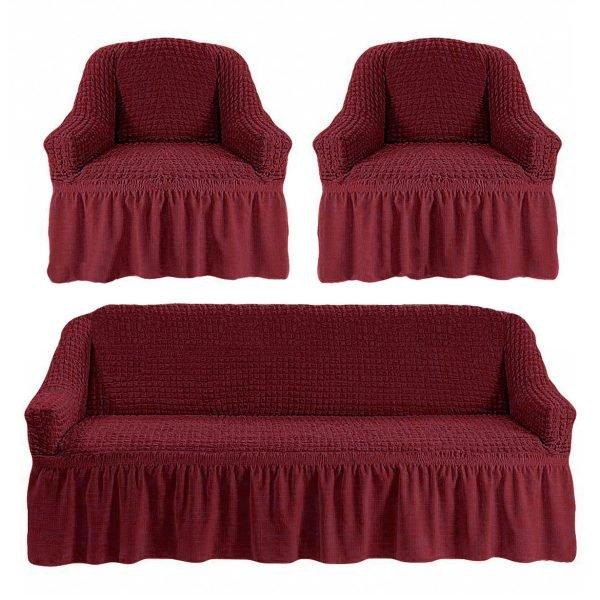купить Комлект чехлов на диван и кресла Love you пурпурный Бордовый фото