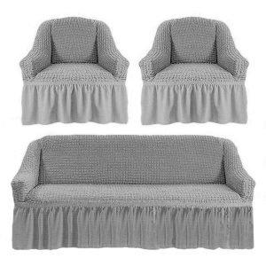 купить Комлект чехлов на диван и кресла Love you серый Серый фото