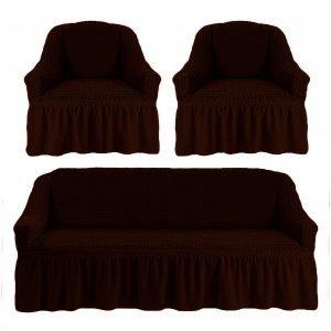 купить Комлект чехлов на диван и кресла Love you черный шоколад Коричневый фото