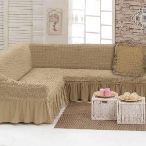 Чехол на угловой диван с подушкой Love You беж