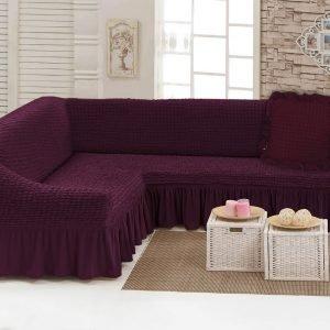 Чехол на угловой диван с подушкой Love You вишня