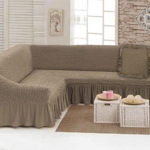 купить Чехол на угловой диван с подушкой Love You какао Кофейный фото
